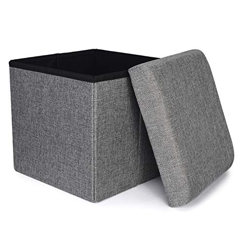 RONSTA Storage Ottoman, Foldable Cube Ottoman with Storage for Children, Foot Rest, Cloth Foot Stools and Ottomans with Memory Foam and Faux Linen Seat 12