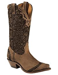 Boulet Western Boots Women Cowboy Leather Selvaggio Wood Tabacco 1655
