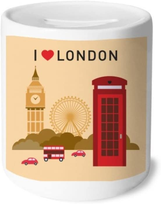 DIYthinker I Love London UK Post Office Flag Mark Money Box Ceramic Coin Case Piggy Bank Gift