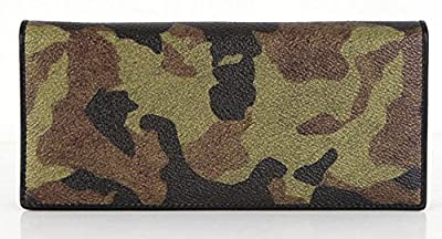 Wallets for Men Camo Checkbook Genuine Leather Bifold Secretary Long Breast ID Window