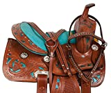 "AceRugs 10"" 12"" 13"" Western Show Crystal Barrel Racing Leather Trail Youth Kids Horse Saddle TACK Set Children"