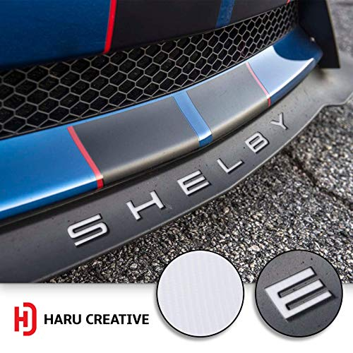 Haru Creative 4D Carbon Fiber Orange Front Splitter Lip Hood Grille Letter Insert Overlay Vinyl Decal Sticker Compatible with and Fits Mustang Shelby GT350 2015-2018