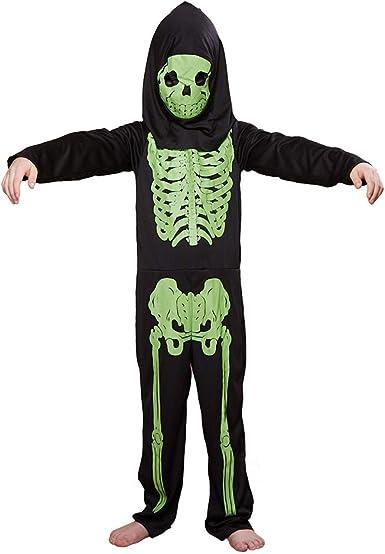 Megartico Disfraz de Esqueleto para niños máscara con Capucha y ...