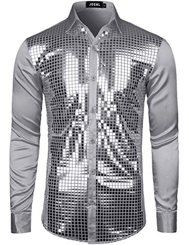 JOGAL Mens Dress Shirt Silver Sequins Long Sleeve Button Down 70s Disco Shirt Party Costume X-Large A348 Gray -