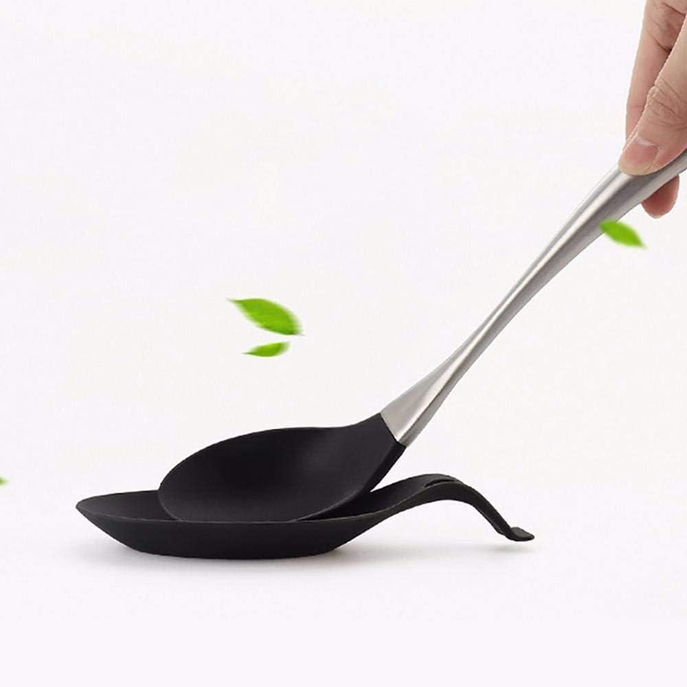 4Pcs Spoon Rest Silicone Scoop Bracket Stand Heat Resistant Spoon Shelf Utensil Spatula Holder Blcak