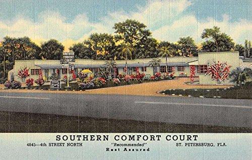 (St Petersburg Florida Southern Comfort Court Linen Antique Postcard K21904)