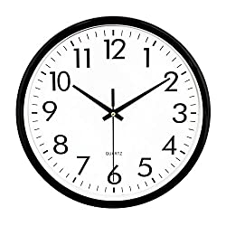 UMEXUS Black Quartz Wall Clock Battery Operated 10 Inch Silent Non Ticking (10INCH Round Wall Clock)