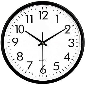 Amazon Com Umexus Black Quartz Round Wall Clock Silent