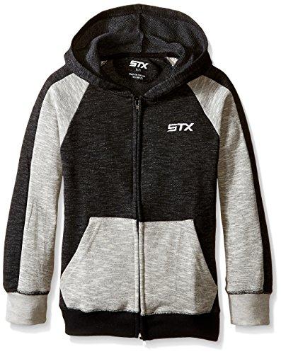 STX Little Boys' Fleece Zip Hoodie Sweatshirt, Black/Gray, ()