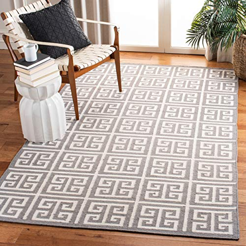 Safavieh Dhurries Collection DHU626B Hand Woven Grey and Ivory Premium Wool Area Rug 4 x 6