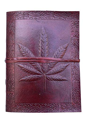 (Pearl Leather Leather Writing Journal Diary Notebook Vintage Leather Leaf Journals Sketchbook Travel to Write Unlined Paper 7x5 Inch)