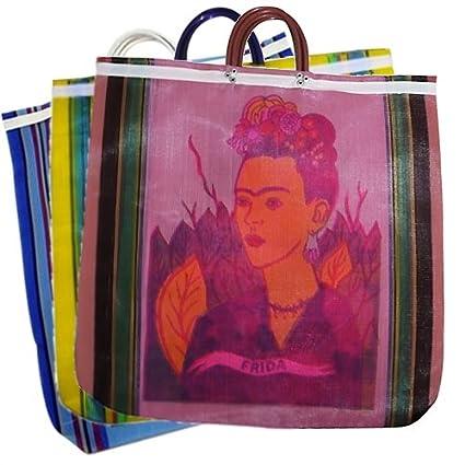 4ec2fcb526f2 Assorted Frida Tote Market Bag Recycled 18 SQ inch Mexico Folk Art Recycled  Plastic Bottles Fiber Printed