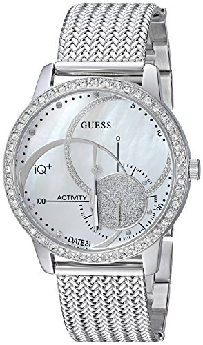 GUESS Women's Stainless Steel Connect Fitness Tracker Watch, Color: Silver-Tone (Model: C2001L1)