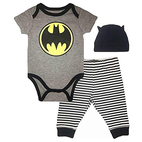 (Batman DC Comics Baby Boys Newborn Infants 3 Piece Set Bodysuit Pants and Cap Grey 3-6)