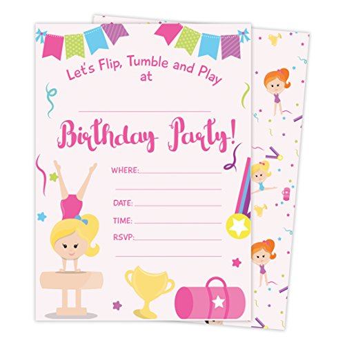Gymnastics Happy Birthday Invitations Invite Cards (25 Count) with Envelopes & Seal Stickers Vinyl Girls Kids Party