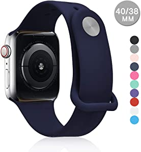 Compatible with Apple Watch Sports Band Series 4 (44mm, 40mm) Series 3 Series 2 Series 1 (42mm, 38mm) | Soft Silicone Replacement Band (Midnight Blue, 44mm/42mm)