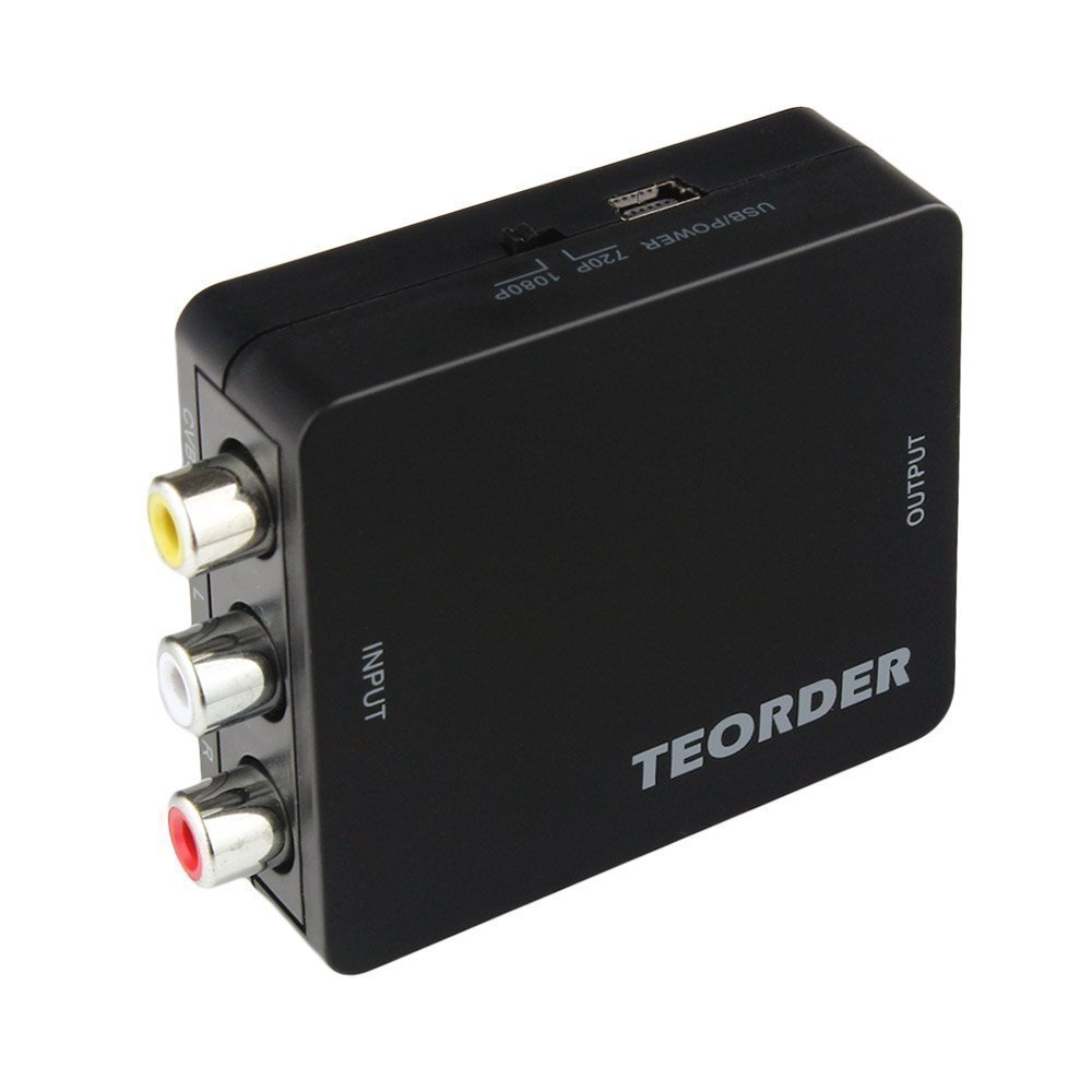 Teorder RCA Composite AV CVBS to HDMI Audio Video Mini Converter Adaptor Full HD 720P 1080P with USB Charge Cable Support PAL/NTSC for PS3/STB/Xbox/VHS/VCR/Blue-Ray DVD Players/TV/PC by Teorder