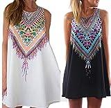 2016 Loose A-line Dresses Party Plus Size Women Clothing Cute Casual Summer Dress (XL, Black)
