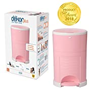 Dekor Plus Hands-Free Diaper Pail | Easiest to Use | Just Step – Drop – Done | Doesn't Absorb Odors | 20 Second Bag Change | Most Economical Refill System |Great for Cloth Diapers | Soft Pink
