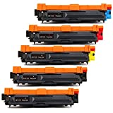 Hitze Compatible TN221 TN225 Toner Cartridge Replacement for Brother TN221 TN-221 TN225 TN-225 High Yield (2 Black, 1 Meganta, 1 Yellow, 1 Cyan) for Brother HL L2300D L2305W L2320D L2340DW L2360DW L23