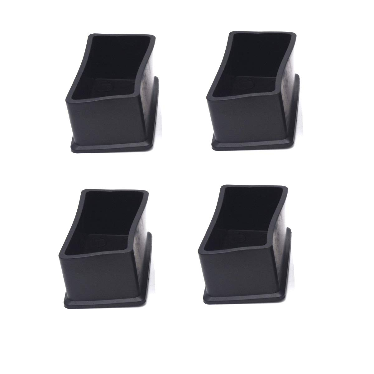 "Antrader 4PCS Table Chair Leg Tips Rectangle Shaped Rubber PVC Furniture Pads Foot End Caps Covers Protectors 1"" x 2"""