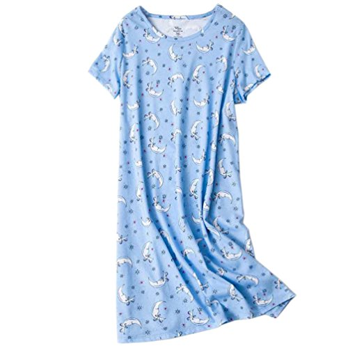 ENJOYNIGHT Womens Cotton Sleepwear Short Sleeves Print Sleepshirt Sleep Tee (Moon, L/XL)