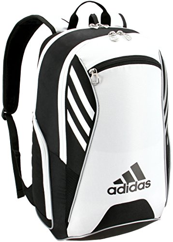 adidas Tour Tennis Racquet Backpack, Black/White/Silver, One Size