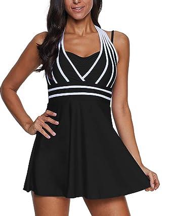 5f49f63358d4d BeneGreat Womens Halter Open Back Swimdress and Shorts High Waist Tankini  Swimsuit Size S-5XL