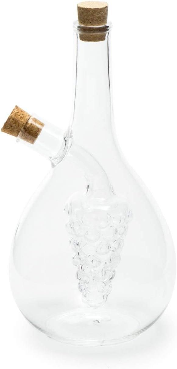 Fox Run Grape Motif Oil and Vinegar Cruet Dispenser Bottle, Clear Borosilicate Glass