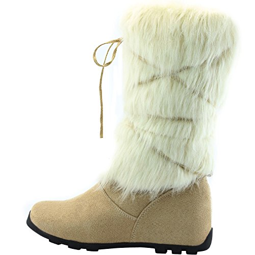 Womens DailyShoes Warmer-02 Mukluk Boots Faux Fur Round Toe Ankle High Winter Bootie Ice Suede Fur-simple ITa2f0wWi