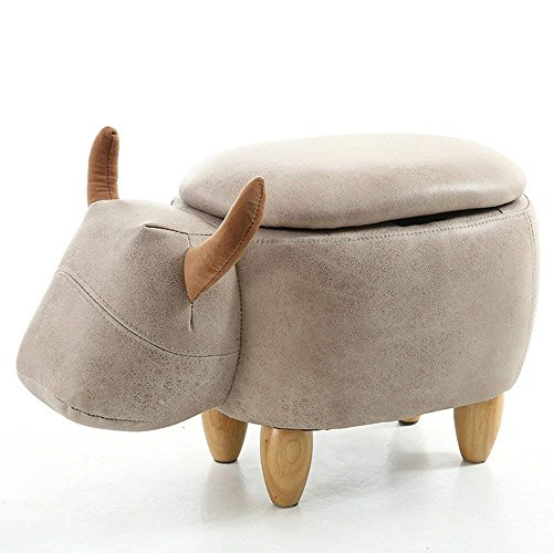 QTQZ Brisk- Storage Stool Retro Pastoral Mobile Stool Pulley Round Storage Stool with a Storage Box (2 Colors Optional) (41 41cm) (Color: A.)