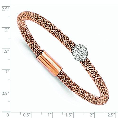 Argent Sterling Rose plaqué or 5 mm découpé au diamant CZ Bracelet-JewelryWeb - 7,5 cm