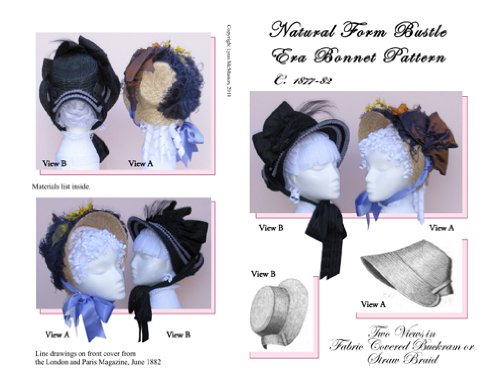 1840-1850s Dickens Victorian Costuming for Women 1877-82 Natural Form Bustle Era Bonnet Pattern (Sewing Pattern) $13.95 AT vintagedancer.com