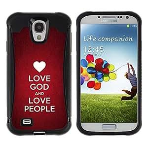 Suave TPU GEL Carcasa Funda Silicona Blando Estuche Caso de protección (para) Samsung Galaxy S4 IV I9500 / CECELL Phone case / / BIBLE Love God And Love People /