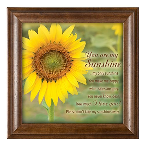 Cottage Framed Picture Art Decor (You Are My Sunshine Yellow Sunflower 12 x 12 Woodgrain Framed Wall Art Plaque)
