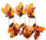 CraftMore Maple Pinecone and Berry Pick 11'' Set of 6