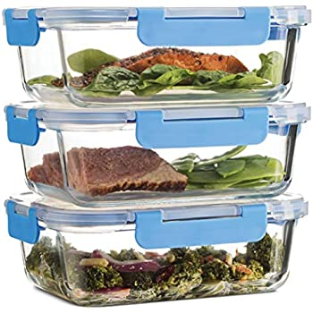 Superior Glass Meal Prep Containers - 3-pack (35oz) Newly Innovated Hinged BPA-free Locking lids - 100% Leak Proof Glass Food Storage Containers, Great on-the-go, Freezer to Oven Safe Lunch Containers