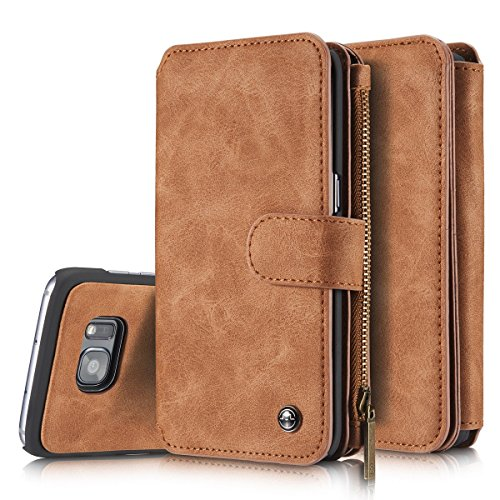 2 in 1 Leather Wallet Flip Cover Case For Samsung Galaxy S7(Brown) - 2