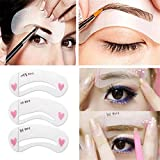 Elistelle 3pcs Eyebrow Stencils Kit Shaping Templates Grooming Brow Template Make Up Tools Kit