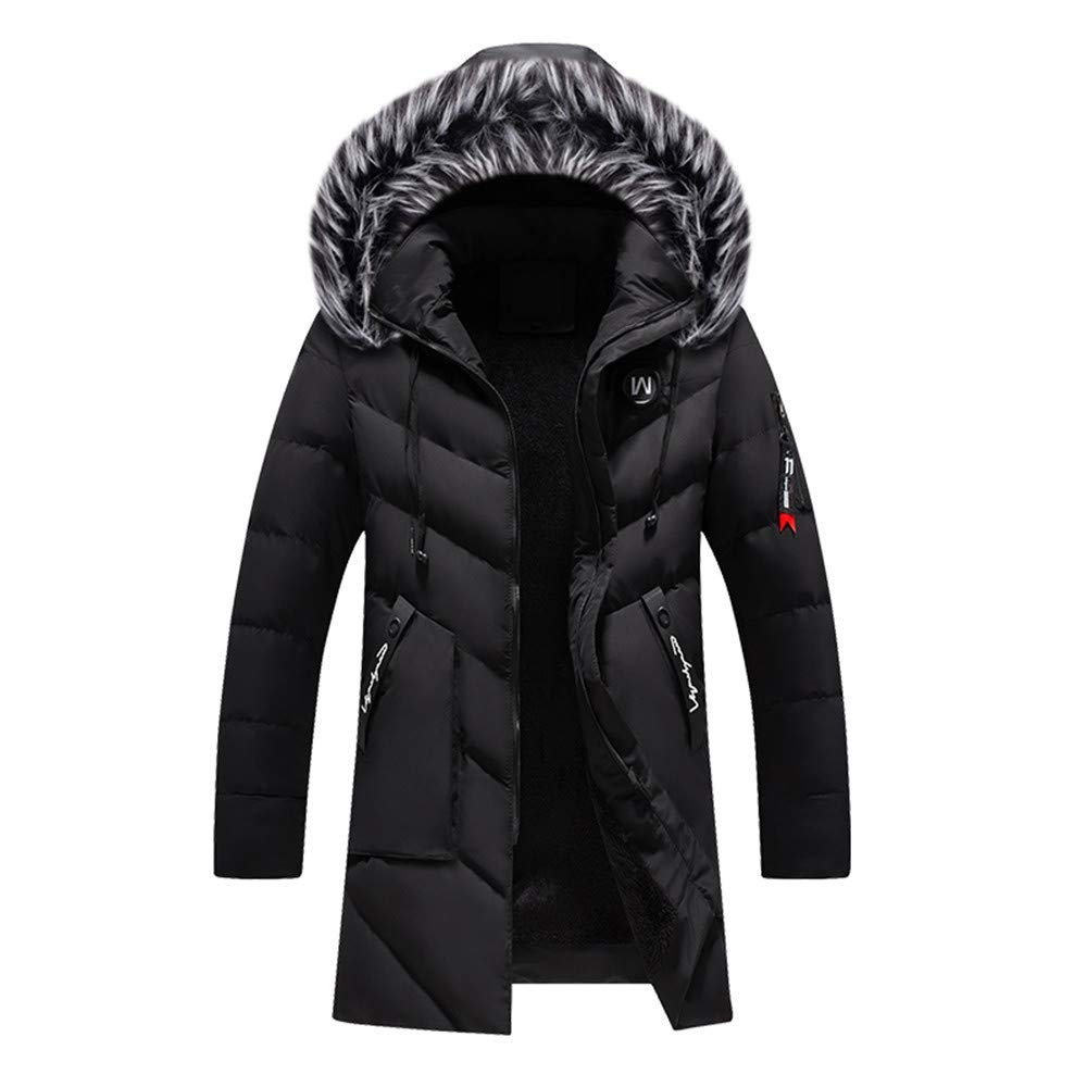 Winter Down Jacket,Mens Comfy Zipper Insulated Hoodie Down Coat with Pockets Puffer Jacket (XL, Black) by Kaniem