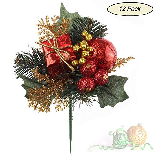 Larksilk Evergreen Pine and Holly Berry Pick with Ball, Red Berries, Decorative Gift Box, Christmas Tree and Wreath Ornament, Winter, Xmas Holiday Décor, Red, 12-Pack