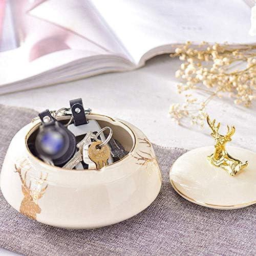 SRX 蓋付きのモダンなセラミック灰皿、屋内または屋外用灰皿、ホワイトベース