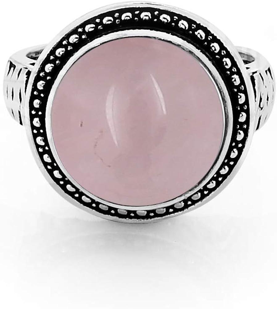 8.40ctw Genuine Rose Quartz Round /& .925 Silver Overlay Solitaire Rings