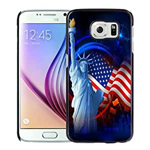 Beautiful Custom Designed Samsung Galaxy S6 Phone Case For Statue of Liberty and American Flag Phone Case Cover
