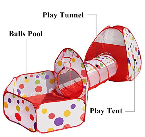 Kids Playhouse Tent With Tunnel Set,PortableFun Outdoor Indoor Bounce Playhouse Ball Tent Toys – Perfect Christmas Gift For Toddlers Child(Ball Pits Not Included)