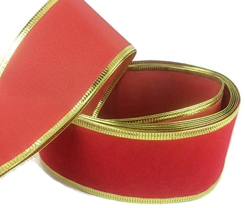 Christmas Red Wired Edge Velvet Ribbon 2 Inches Wide X 10 Yard Spool