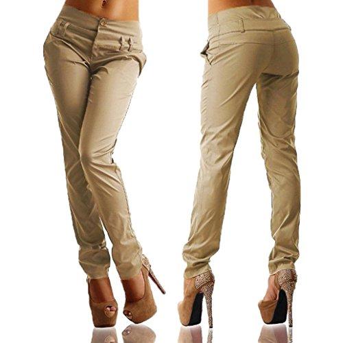 feiXIANG Frauen Buttons Hohe Taille Hosen Charming Elegante Casual Lange Freizeit Hosen Große Größe kahki