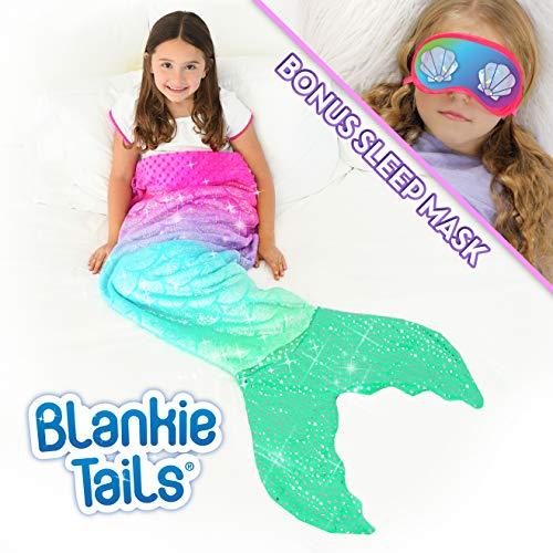 Blankie Tails Mermaid Tail Blanket with Bonus Sleep Mask Gift Set - Glitter Sparkle Pink/Aqua Ombre Mermaid Blanket-Double-Sided Minky Fleece Kids Size Mermaid Tail Wearable Blanket (And Ship Mermaid)