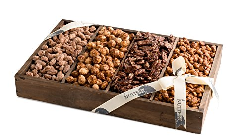 The Nuttery 4 Compartment Nuts Gift Basket-Reusable Medium Wooden Box- Kosher Gourmet Holiday Food Gift Set -Healthy Snack Thanksgiving Mixed Sweet and Roasted Nuts Gift Tray (Mother's Day Gift Baskets Homemade)