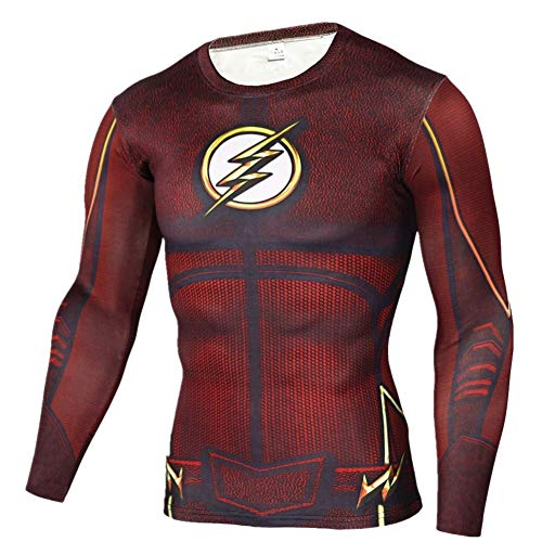 Cosfunmax Superhero Shirt Compression Sports Shirt Runing Fitness Gym Short/Long Sleeve Base Layer XL -